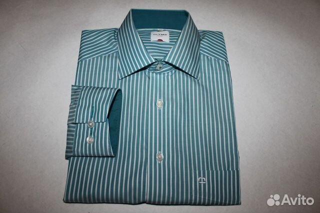 a1d8d9fad67 Мужская рубашка Olymp Luxor бело-бирюзовая полоска