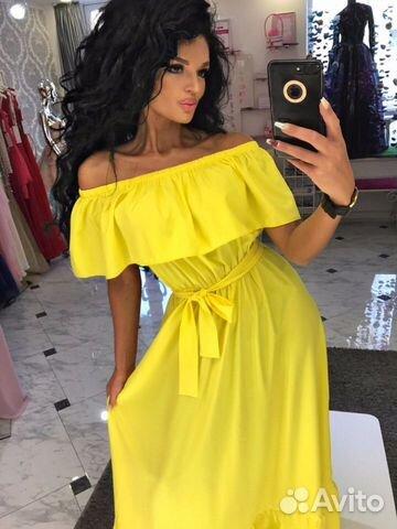 261c35c2b88 Жёлтое платье в пол с воланами купить в Санкт-Петербурге на Avito ...