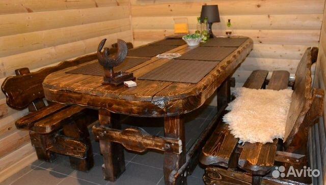 стол из массива дерева под старину для дома и дачи купить в