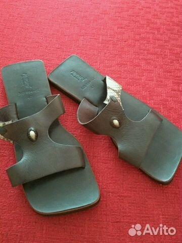 Абсолютно новые кожаные шлепанцы 89134842209 купить 4