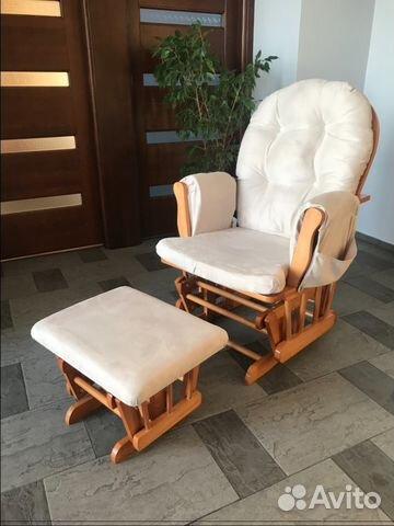 деревянное кресло качалка Kub с подставкой для ног Festimaru