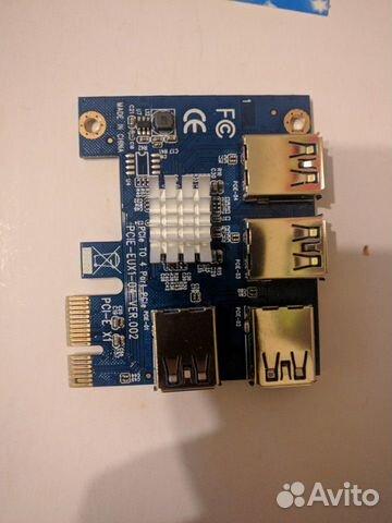 Адаптер PCI-e x1 to 4 port PCI-e x1  89202050716 купить 1