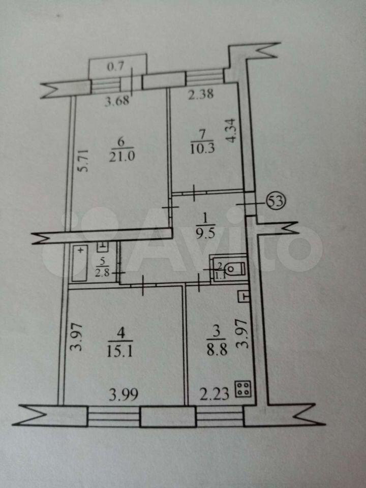 3-к квартира, 68.6 м², 1/5 эт.