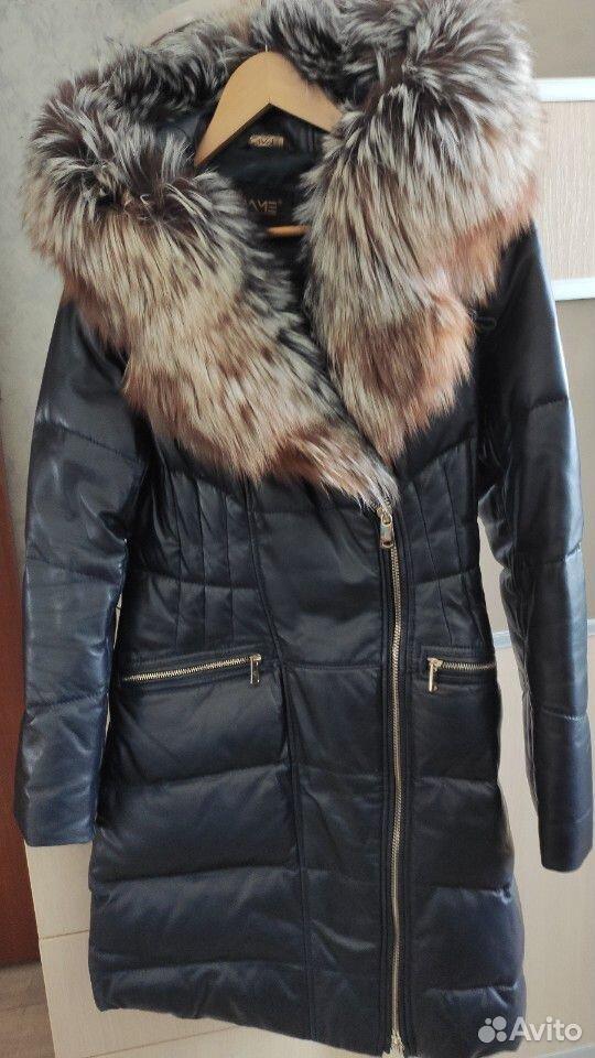 Зимний кожаный Пуховик с лисой длинный  89139687644 купить 2